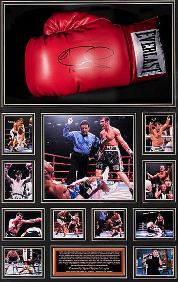 A signed Joe Calzaghe boxing glove presentation, a right-hand red Eve