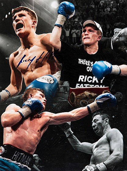 Two Ricky Hatton signed colour photographs and two fight posters, 16