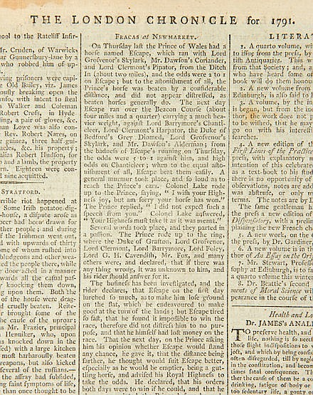 The London Chronicle Newspaper published 27-29 October 1791 and carryi