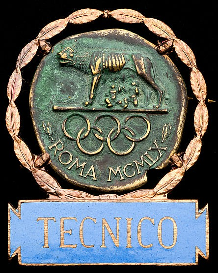 Rome 1960 Olympic Games technician's badge bronze, blue enamel bar in