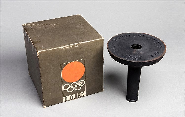 A Tokyo 1964 Olympic Games torch holder in original box of issue,  des