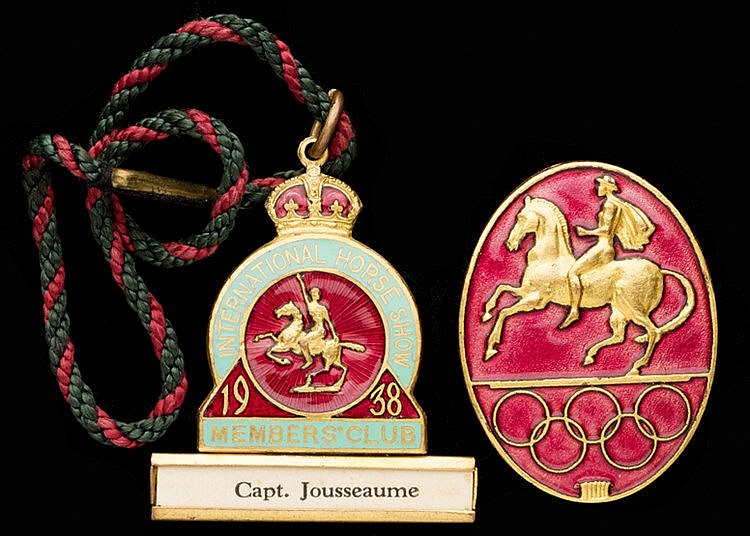 1956 Stockholm Equestrian Olympic Games participant's badge issued to