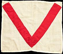 Grand National Course Valentine's Brook fence flag,  a red V on a whit