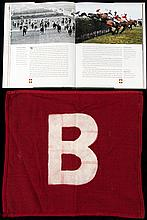 Grand National Course Becher's Brook fence flag,  a white B on a red b