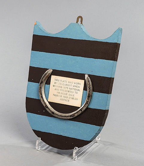 A racing plate worn by L'Escargot when winning the 1975 Grand National