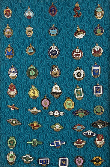 A collection of 49 Aintree race badges,  for the Liverpool County Stan