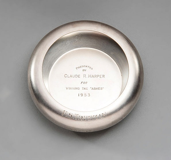 Fred Trueman 1953 Ashes cricket presentation,  a hallmarked silver ash