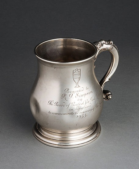 Hallmarked silver pint tankard presented to the England cricketer Reg