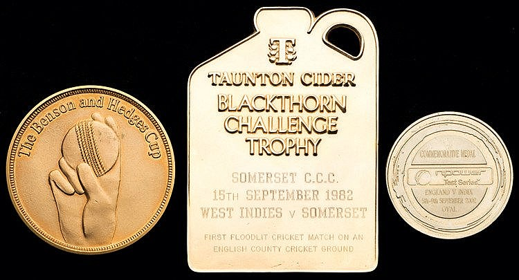 Three cased cricket medals, i) Taunton Cider Blackthorn Challenge tro