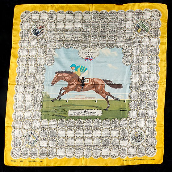 A ladies silk scarf commemorating the victory of Sir Victor Sassoon's