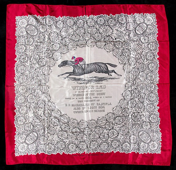 A ladies silk scarf commemorating the victory of the Maharaja of Rajpi