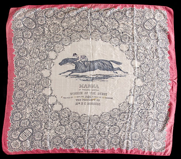 A ladies silk scarf commemorating the victory of Mr Morriss's Manna in