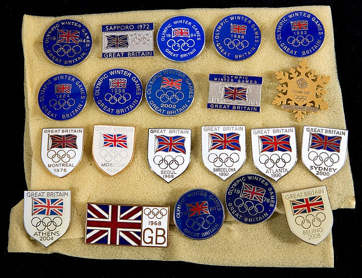 A collection of 21 Great Britain Olympic Team badges dating between 19