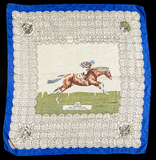 A ladies silk scarf commemorating the victory of Mr Guest's Larkspur i