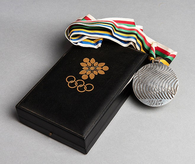 Grenoble 1968 Winter Olympic Games silver prize medal for the Giant Sl
