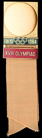 Tokyo 1964 Olympic Games delegate's badge,  gold plate & enamel, peach