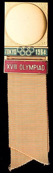 Tokyo 1964 Olympic Games delegate's badge, gold plate & enamel, peach
