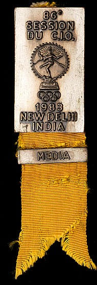 86th International Olympic Committee Session badge for India in 1983,