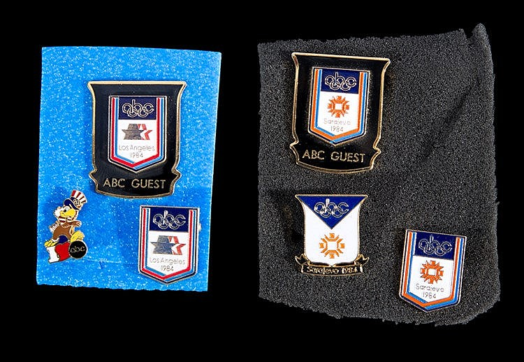 Two sets of ABC broadcasting pins for the 1984 winter and summer Olymp