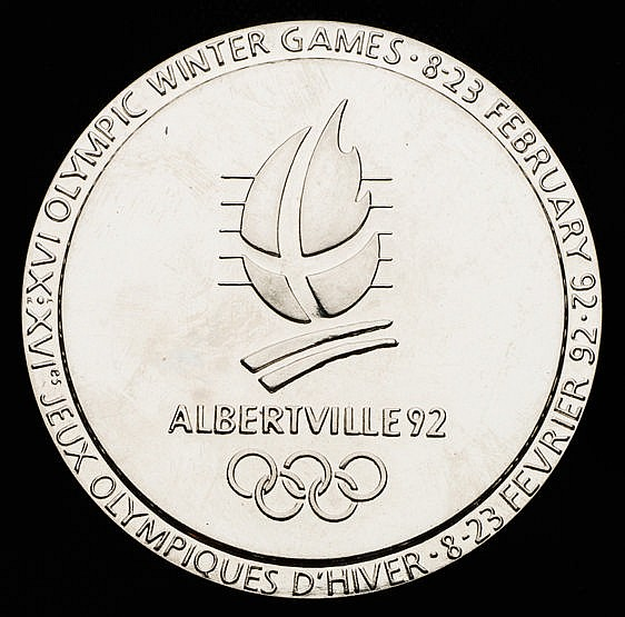 Albertville 1992 Winter Olympic Games participation medal, chromium-p