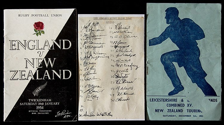 The autographs of the 1953-54 New Zealand All Blacks Rugby touring tea