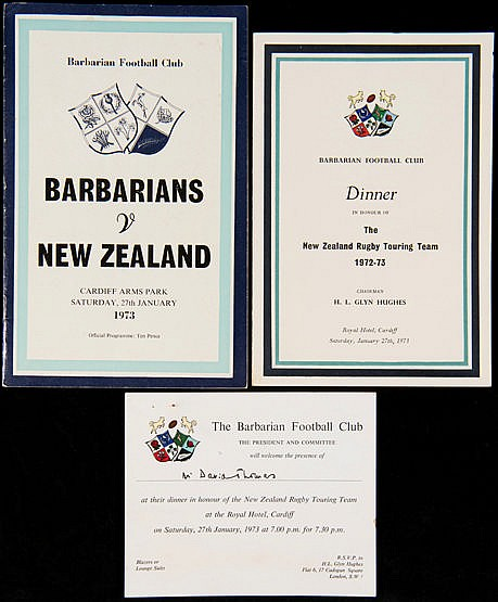 Programme, dinner menu & invitation for the celebrated Barbarians v Ne