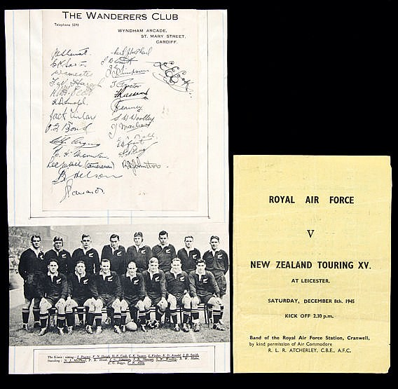 The autographs of the 1945-46 New Zealand Expeditionary Force rugby un