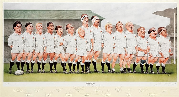 An England 1991 Rugby Grand Slam signed caricature print, the John Ir