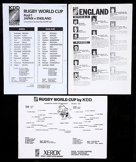 Press-issue team sheets for matches at the inaugural Rugby World Cup i
