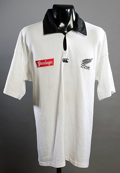 Frank Bunce New Zealand white No.13 away rugby union shirt 1994-1996,