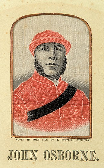 A collection of nine framed Victorian stevengraphs featuring jockeys,