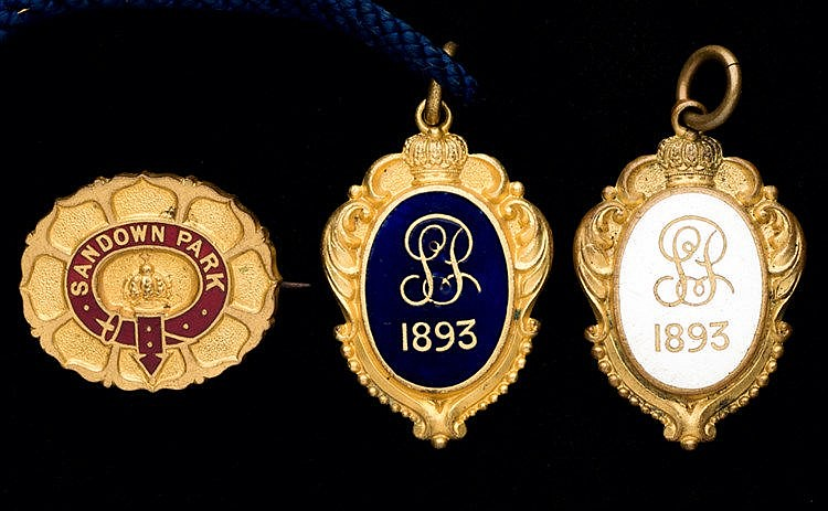 A group of three 1893 Sandown Park badges, consisting of a gentleman'