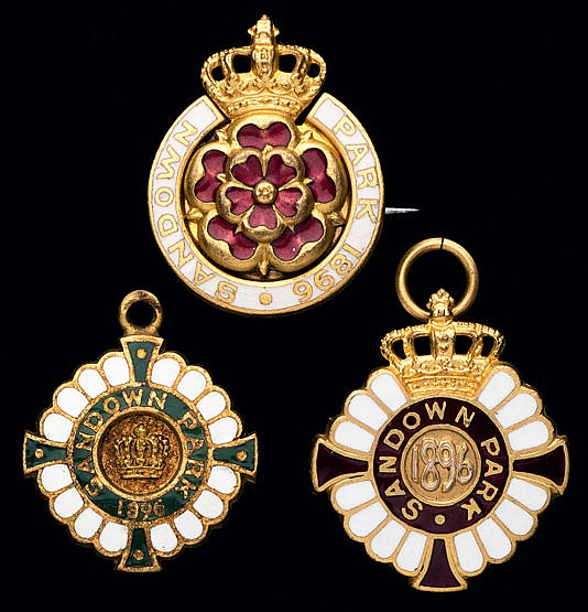 A group of three 1896 Sandown Park badges,  consisting of a gentleman'