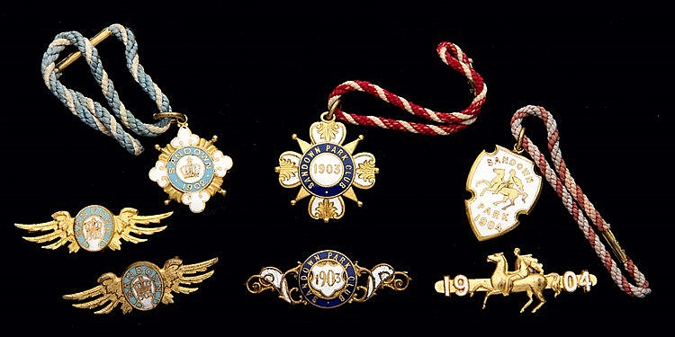 Three groups of Sandown Park badges, for the years 1902, 1903 & 1904,