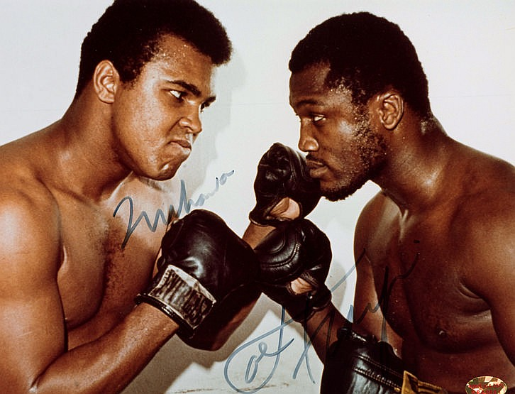 Muhammad Ali & Joe Frazier double-signed colour photograph,  8 by 10in