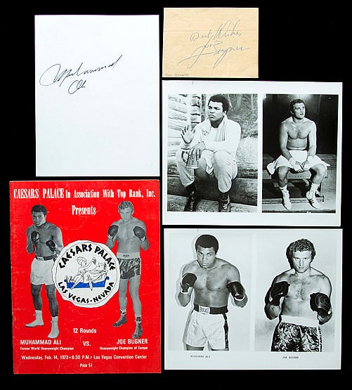 Muhammad Ali & Joe Bugner autographs, superb period Ali signature on