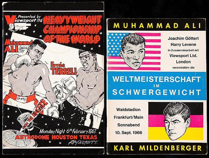 Two Muhammad Ali boxing programmes, v Karl Mildenberger in Frankfurt