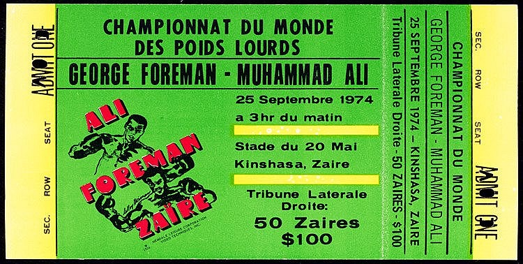 A rare ticket for the Muhammad Ali v George Foreman 'Rumble in the Jun