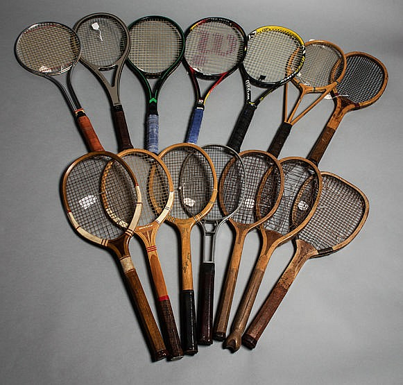 The evolution of the tennis racket: a collection of 14 lawn tennis rac