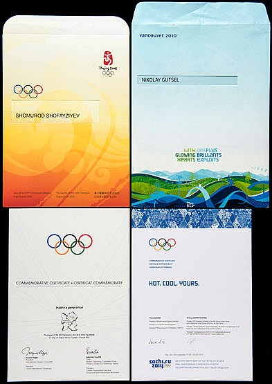 A group of four Olympic Games participants' diplomas,  i) Beijing 2008