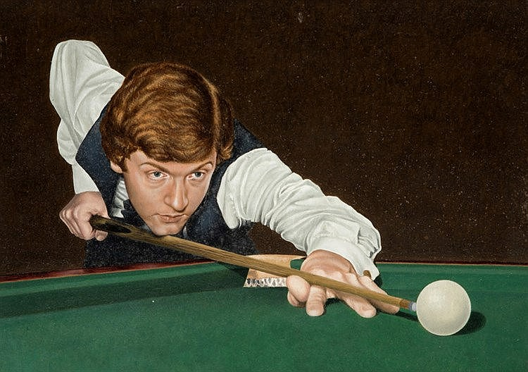James Gray STEVE DAVIS SNOOKER WORLD CHAMPION oil on board circa 198