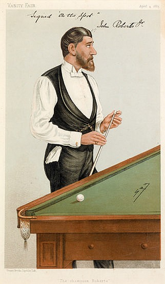 A rare signed Vanity Fair print of the Champion Billiards player John