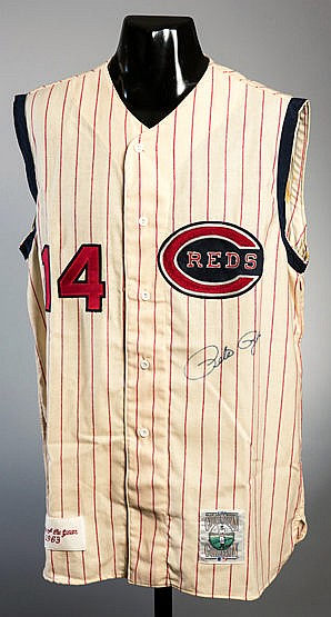 A Pete Rose signed Cincinnati Reds 1963 'Rookie of the Year' retro bas