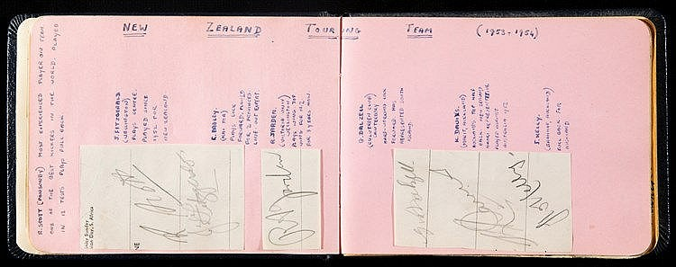 1950s sporting autographs book, with football, cricket & rugby conten