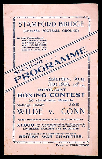 Programme for the Jimmy Wilde v Joe Conn boxing match at Chelsea Footb
