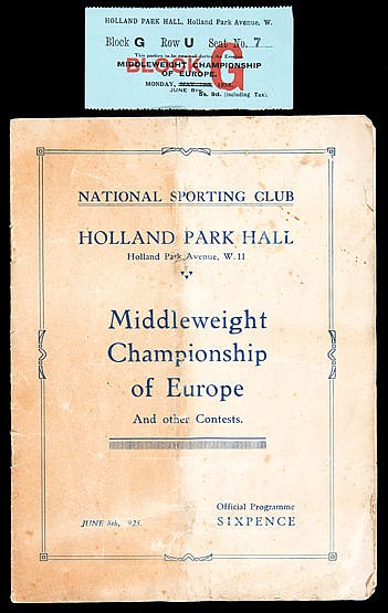 Boxing programme for the Middleweight Championship of Europe contest B