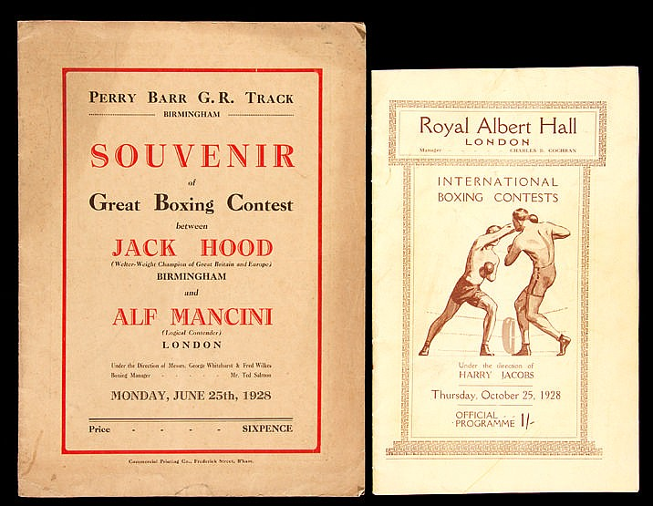 Two 1920s boxing programmes,  Jack Hood v Alf Mancini at Perry Barr Gr