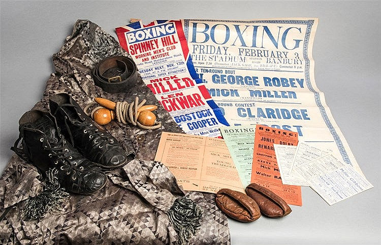 A collection of memorabilia relating to the Mansfield boxer Mick Mille