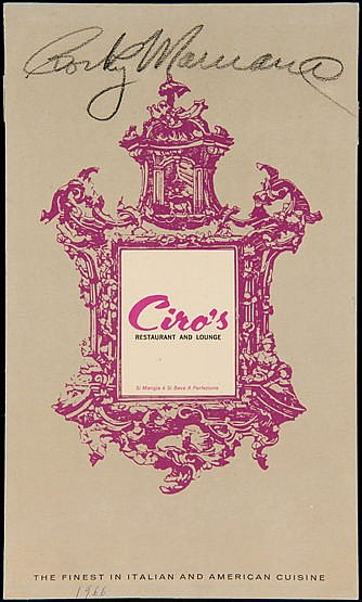 Rocky Marciano signed Ciro's restaurant menu, signed to the front in