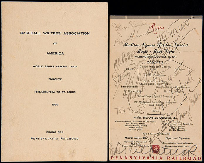 Signed Pennsylvania Railroad dining car menu from the